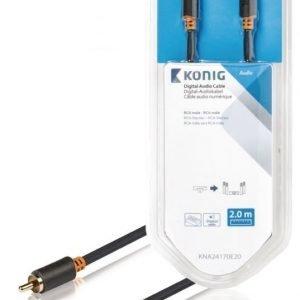 Digitaalinen audiokaapeli RCA-urosliitin - urosliitin 2 00 m harmaa
