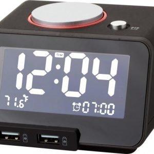 Digitaalinen herätyskello latausliitännöillä
