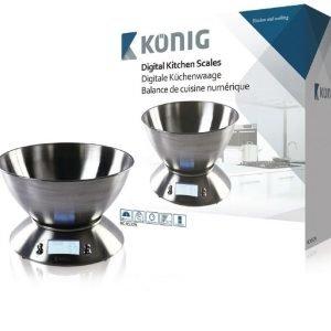 Digitaalinen keittiövaaka ja kulho ruostumatonta terästä
