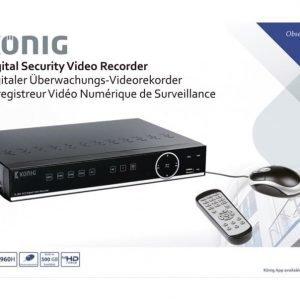 Digitaalinen valvontajärjestelmän videonauhuri joka on varustettu sisäänrakennetulla 500 Gt: n kiintolevyllä