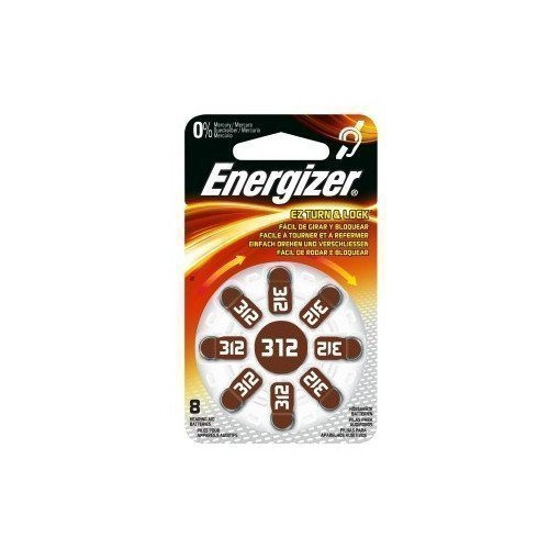 Energizer Cell Zinc Air 312 Hearing 8-pack