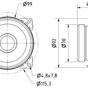 FX10 2-tie antenni kaiutin 10 cm 4 Ohm