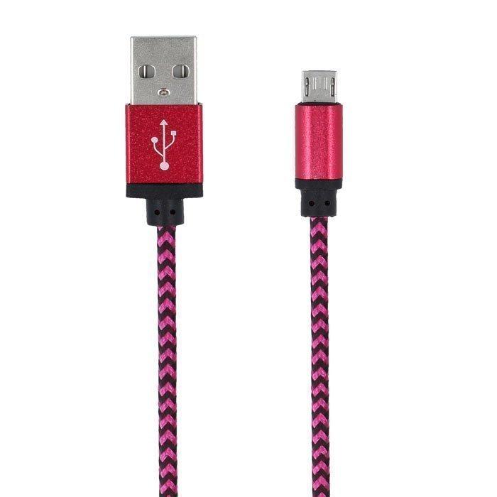Forever Braided punottu kestävä Micro USB kaapeli 1m - Pinkki