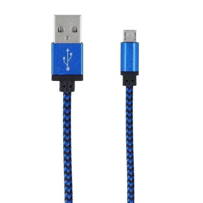 Forever Braided punottu kestävä Micro USB kaapeli 1m - Sininen
