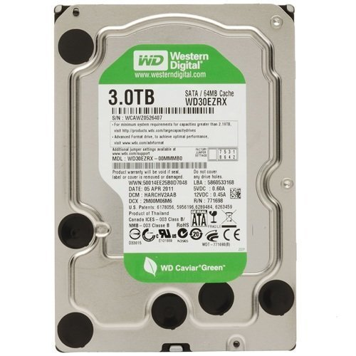 HDD-Intern-3.5 Western Digital Caviar Green 3TB (IntelliPower / 64MB Cache / Sata 6Gb/s / NCQ)