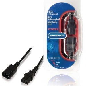 IEC C13 jatkojohto IEC-320-C14 - IEC-320-C13 2 0 m musta