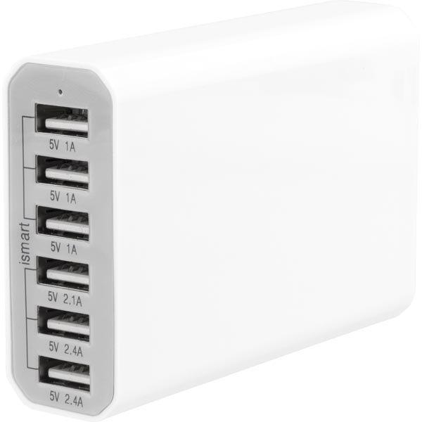 K50W-6USB - USB-latausasema 6xUSB 5V 10A valkoinen