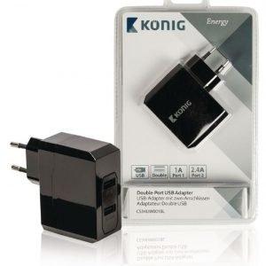 Kaksiporttinen USB yleissovitin 1 A ja 2 4 A
