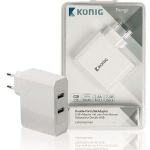 Kaksiporttinen USB yleissovitin 2.4 A ja 2.4 A