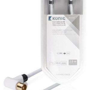 Koaksiaalikaapeli 100 dB koaksiaaliliitin uros kulma - naaras kulma 2 00 m valkoinen
