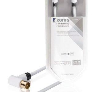 Koaksiaalikaapeli 100 dB koaksiaaliliitin uros kulma - naaras kulma 3 00 m valkoinen