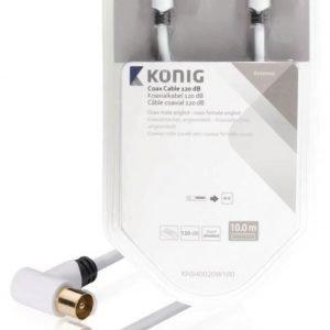 Koaksiaalikaapeli 120 dB koaksiaaliliitin uros kulma - naaras kulma 10 0 m valkoinen