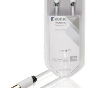 Koaksiaalikaapeli 90 dB koaksiaaliliitin uros - uros 1 00 m valkoinen
