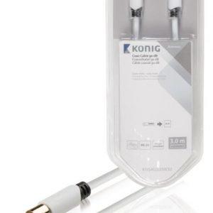 Koaksiaalikaapeli 90 dB koaksiaaliliitin uros - uros 3 00 m valkoinen