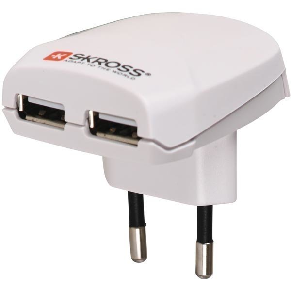 Kross Euro USB Charger - Seinälaturi 2x USB-portilla 5v 2 1A valk