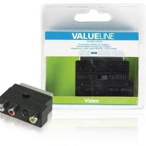 Kytkettävä SCART AV-sovitin SCART uros - 3x RCA naaras + S-video naaras musta