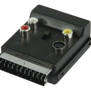 Kytkettävä SCART AV-sovitin SCART uros - SCART naaras + 3x RCA naaras + S-video naaras musta
