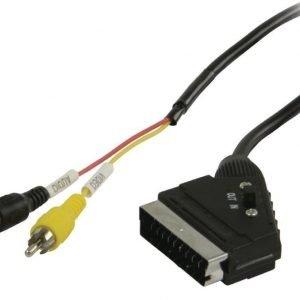 Kytkettävä SCART - RCA-kaapeli SCART uros - 2x RCA uros 1 00 m musta