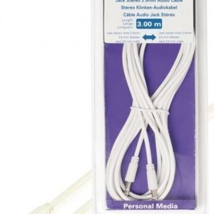 Liittimellinen stereoäänikaapeli 3 5 mm uros - 3 5 mm uros valkoinen 3 00 m