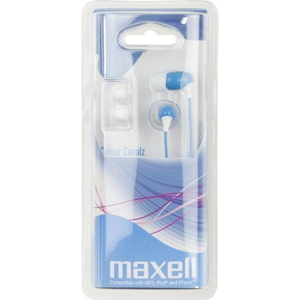 Maxell Colour Canalz nappikuulokkeet 2xL 1xS 3 5mm 1 2m sin/valk