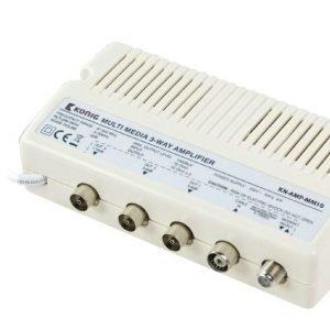 Multimediavahvistin 10 dB 3 lähtöä paluukanava
