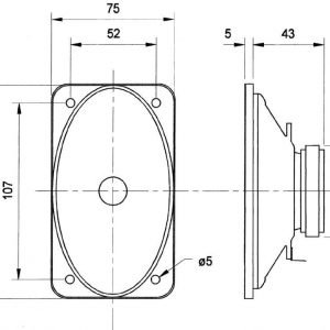 Oval fullrange driver 15 W 100 V