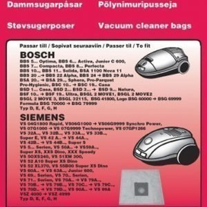 Pölypussit Bosch Free 5:n pakkaus.