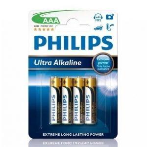 Philips Ultra Alkaline Aaa Paristot 4-Pakkaus