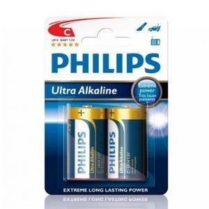 Philips Ultra Alkaline C Lr14 Paristot 2-Pakkaus