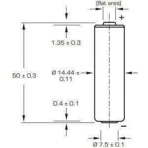 SAFT LS14500 AA Lithium paristo 3.6V - Juotoskorvakkeilla