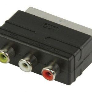 SCART - RCA-lähtösovitin SCART uros - 3x RCA naaras musta