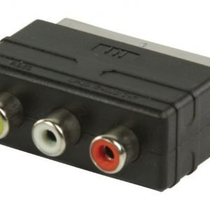 SCART - RCA-tulosovitin SCART uros - 3x RCA naaras musta