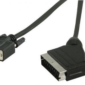SCART - VGA-kaapeli SCART uros - VGA naaras 2 00 m musta
