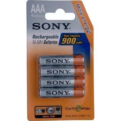 SONY ladattavat NiMh AAA-paristot (LR03) 900 mAh 4-pakkaus