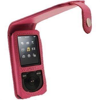 Sony Walkman NWZ-E450 iGadgitz Nahkainen Läppäkotelo Pinkki