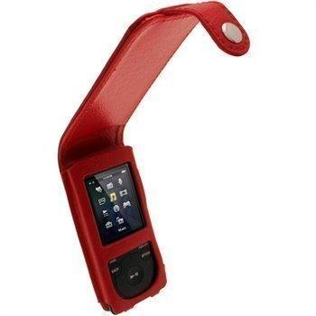 Sony Walkman NWZ-E473 NWZ-E474 iGadgitz Nahkainen Läppäkotelo Punainen