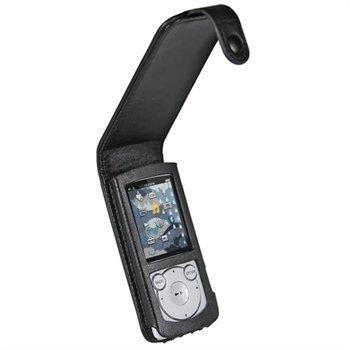 Sony Walkman NWZ-S765B NWZ-S765W iGadgitz Nahkainen Läppäkotelo Musta