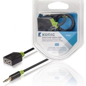 Stereo-audio-jakokaapeli 3 5 mm:n urosliitin - 2 x naarasliitin 0 20 m harmaa