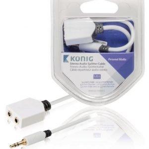 Stereo-audio-jakokaapeli 3 5 mm:n urosliitin - 2 x naarasliitin 0 20 m valkoinen