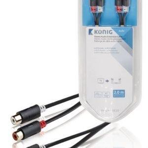 Stereo-audio-jatkokaapeli 2 x RCA-urosliitin - 2 x naarasliitin 2 00 m harmaa
