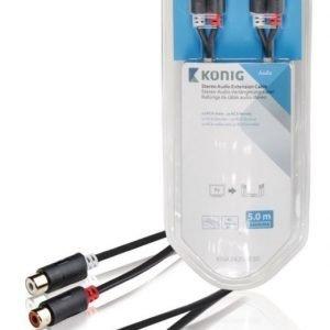 Stereo-audio-jatkokaapeli 2 x RCA-urosliitin - 2 x naarasliitin 5 00 m harmaa