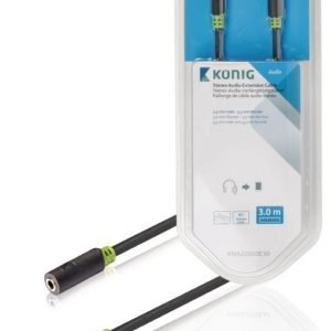 Stereo-audio-jatkokaapeli 3 5 mm:n urosliitin - naarasliitin 3 00 m harmaa