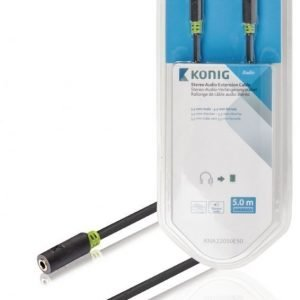 Stereo-audio-jatkokaapeli 3 5 mm:n urosliitin - naarasliitin 5 00 m harmaa