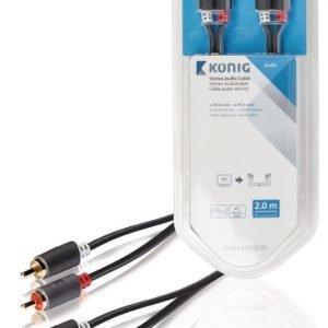Stereo-audio-kaapeli 2 x RCA-urosliitin - 2 x urosliitin 2 00 m harmaa