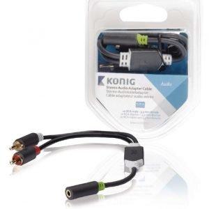 Stereo-audio-sovitinkaapeli 2 x RCA-urosliitin - 3 5 mm:n naarasliitin 0 20 m harmaa