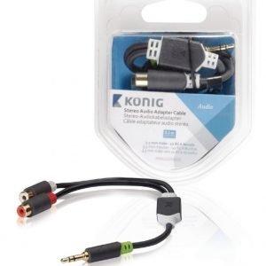 Stereo-audio-sovitinkaapeli 3 5 mm:n urosliitin - 2 x RCA-naarasliitin 0 20 m harmaa