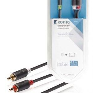 Stereo-audiokaapeli 3 5 mm:n urosliitin - 2 x RCA-urosliitin 0 50 m harmaa