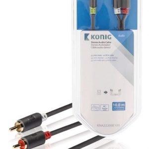 Stereo-audiokaapeli 3 5 mm:n urosliitin - 2 x RCA-urosliitin 10 0 m harmaa