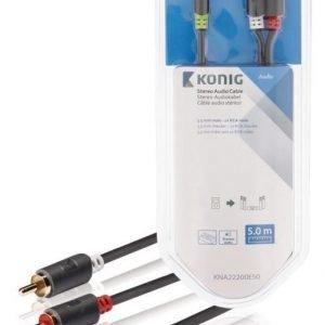 Stereo-audiokaapeli 3 5 mm:n urosliitin - 2 x RCA-urosliitin 5 00 m harmaa