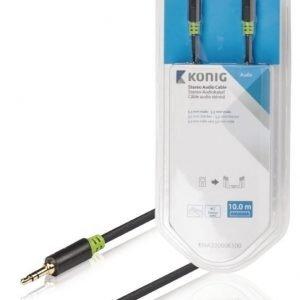 Stereo-audiokaapeli 3 5 mm:n urosliitin - urosliitin 10 0 m harmaa